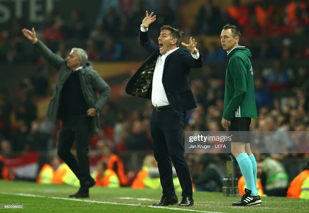 Eduardo Berizzo, Manager of Celta Vigo reacts from the touchline during the UEFA Europa League, semi final second leg match, between Manchester United and Celta Vigo at Old Trafford on May 11, 2017 in Manchester, United Kingdom.