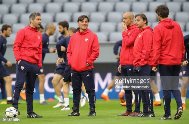 Eduardo Berizzo Manager of Sevilla watches his team train during the Sevilla FC Training Session at Allianz Arena on April 10 2018 in Munich Germany