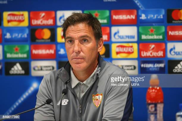 Eduardo Berizzo the coach of Sevilla faces the media in his post match interview after the UEFA Champions League group E match between Liverpool FC...