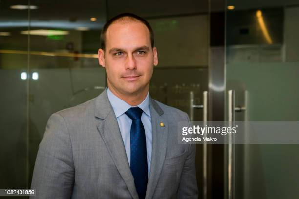 Eduardo Bolsonaro elected Deputy of Brazil arrives at the Ministry of Social Development for a working meeting with Minister Alfredo Moreno on...