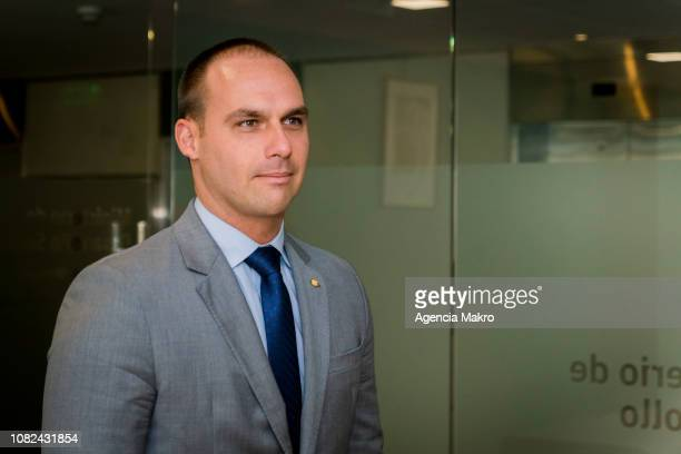 Eduardo Bolsonaro elected Deputy of Brazil arrives to the Ministry of Social Development for a working meeting with Minister Alfredo Moreno on...