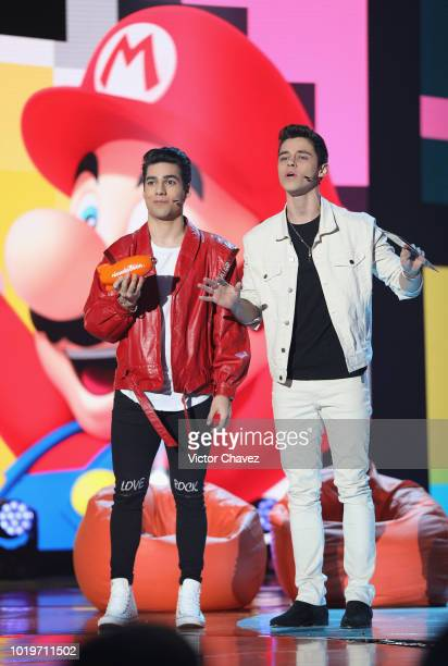 Eduardo Brito and Alex Hoyer of Kally's Mashup speak on stage during the Nickelodeon Kids' Choice Awards Mexico 2018 at Auditorio Nacional on August...