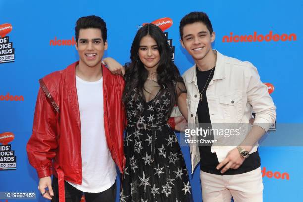 Eduardo Brito Maia Reficco and Alex Hoyer of Kally's Mashup attend the Nickelodeon Kids' Choice Awards Mexico 2018 at Auditorio Nacional on August 19...