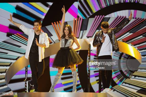 Eduardo Brito Maia Reficco and Alex Hoyer of Kally's Mashup perform on stage during the Nickelodeon Kids' Choice Awards Mexico 2018 at Auditorio...
