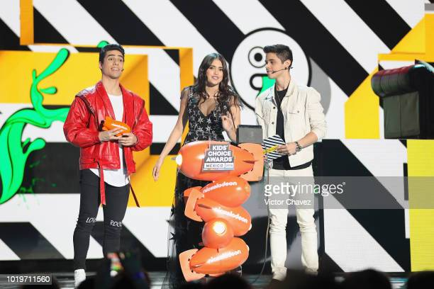 Eduardo Brito Maia Reficco and Alex Hoyer of Kally's Mashup speak on stage during the Nickelodeon Kids' Choice Awards Mexico 2018 at Auditorio...