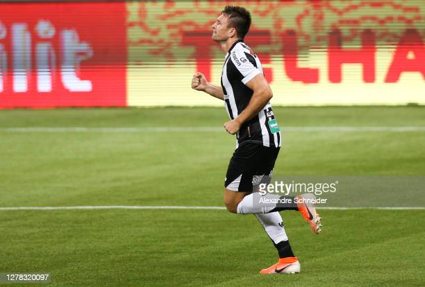 Eduardo Brock of Ceara celebrates after scoring the first goal of his team during the match against Palmeiras as part of Brasileirao Series A at...