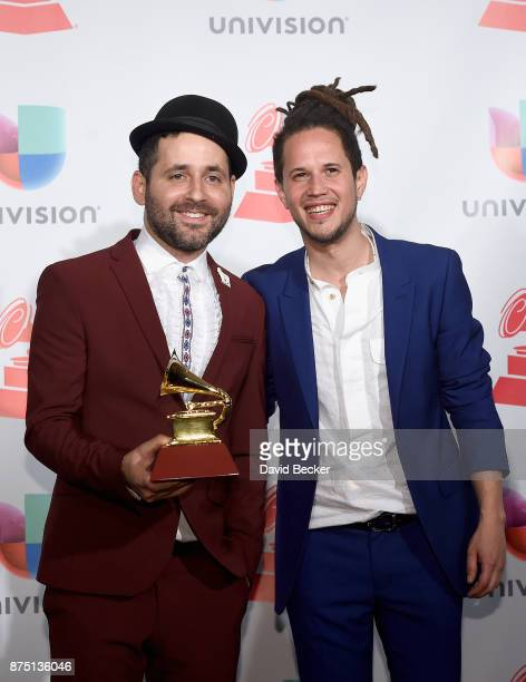 Eduardo Cabra and Vicente Garcia poses in the press room during The 18th Annual Latin Grammy Awards at MGM Grand Garden Arena on November 16 2017 in...