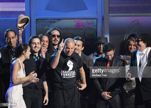 Eduardo Cabra Martinez aka Visitante and Rene Perez Joglar aka Residente of Calle 13 accept the Album of the Year Award for 'Entren Los Que Quieran'...