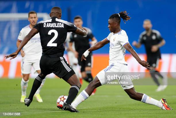 Eduardo Camavinga and Eden Hazard both of Real Madrid in action during the UEFA Champions League group D match between Real Madrid and FC Sheriff at...