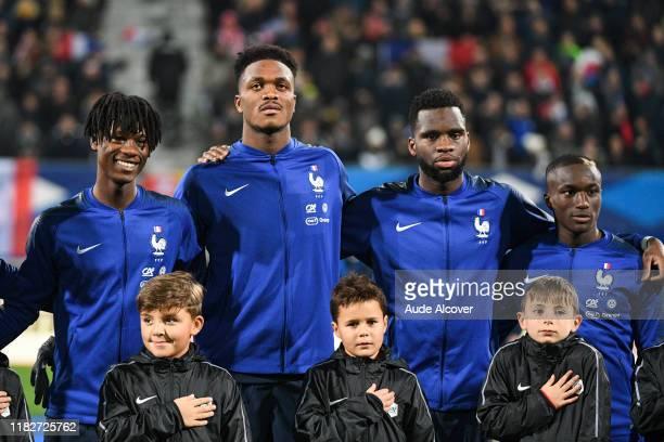 Eduardo CAMAVINGA DanAxel ZAGADOU Odsonne EDOUARD and Moussa DIABY of France during the UEFA European Championship Group B match between France U21...