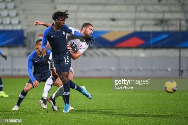 Eduardo CAMAVINGA of France and Nugzar SPANDERASHVILI of Georgia during the UEFA European Championship Group B match between France U21 and Georgia...