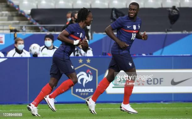 Eduardo Camavinga of France celebrate his goal with Dayot Upamecano during the international friendly match between France and Ukraine at Stade de...