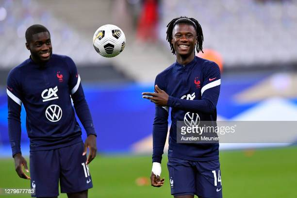 Eduardo Camavinga of France reacts during warmup before the UEFA Nations League group stage match between France and Portugal at Stade de France on...