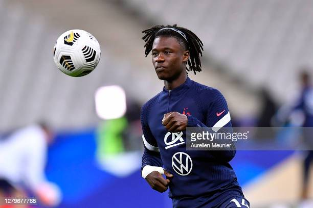 Eduardo Camavinga of France warms up before the UEFA Nations League group stage match between France and Portugal at Stade de France on October 11,...