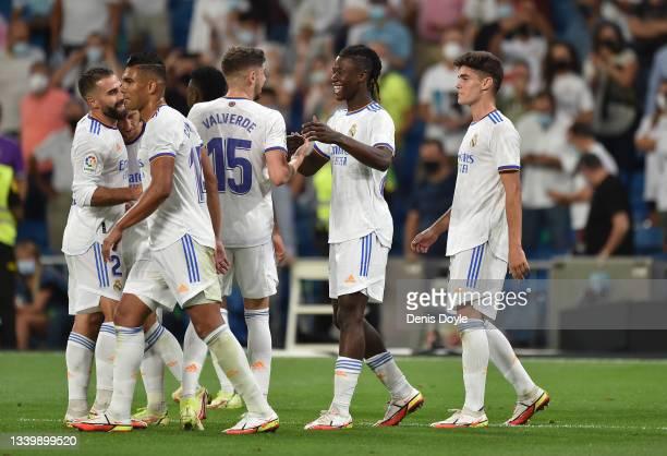 Eduardo Camavinga of Real Madrid celebrates after scoring their team's 4th goal during the La Liga Santander match between Real Madrid CF and RC...