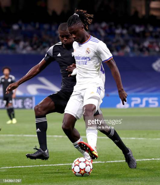 Eduardo Camavinga of Real Madrid in action during the UEFA Champions League group D match between Real Madrid and FC Sheriff at Estadio Santiago...