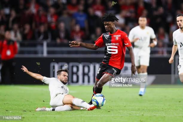 Eduardo Camavinga of Rennes and Pablo Sarrabia of Paris Saint Germain during the Ligue 1 match between Stade Rennes and Paris SaintGermain at Roazhon...