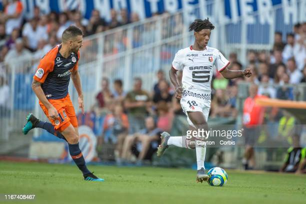 Eduardo Camavinga of Rennes defended by Damien Le Tallec of Montpellier during the Montpellier Vs Stade Rennes French Ligue 1 regular season match at...