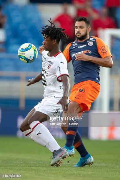 Eduardo Camavinga of Rennes defended by Gaetan Laborde of Montpellier during the Montpellier Vs Stade Rennes French Ligue 1 regular season match at...
