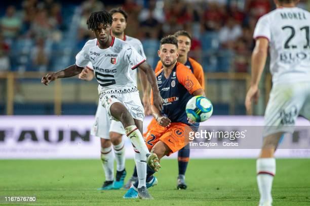 Eduardo Camavinga of Rennes defended by Jordan Ferri of Montpellier during the Montpellier Vs Stade Rennes French Ligue 1 regular season match at...