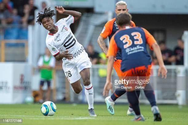 Eduardo Camavinga of Rennes defended by Joris Chotard of Montpellier during the Montpellier Vs Stade Rennes French Ligue 1 regular season match at...