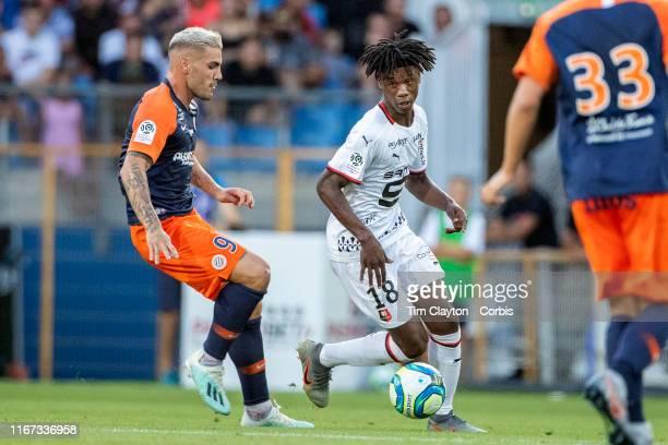 Eduardo Camavinga of Rennes dribbles past Andy Delort of Montpellier during the Montpellier Vs Stade Rennes French Ligue 1 regular season match at...