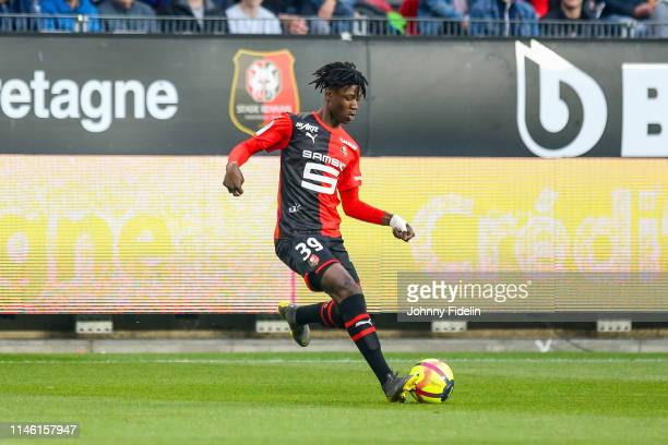 Eduardo Camavinga of Rennes during the Ligue 1 match between Stade Rennais football club and LOSC Lille Association on May 24 2019 in Rennes France