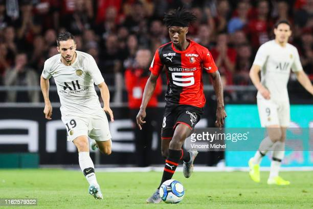 Eduardo Camavinga of Rennes during the Ligue 1 match between Stade Rennes and Paris SaintGermain at Roazhon Park on August 17 2019 in Rennes France