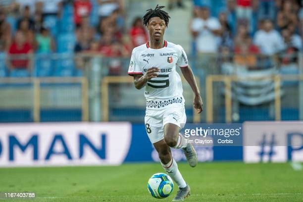 August 10: Eduardo Camavinga of Rennes in action during the Montpellier Vs Stade Rennes, French Ligue 1 regular season match at Stade de la Mosson on...