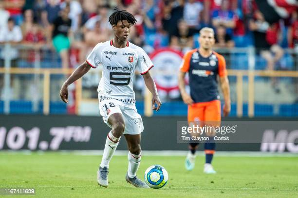 Eduardo Camavinga of Rennes in action during the Montpellier Vs Stade Rennes French Ligue 1 regular season match at Stade de la Mosson on August 10th...