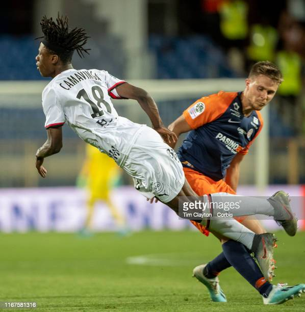 Eduardo Camavinga of Rennes is fouled by Arnaud Souquet of Montpellier during the Montpellier Vs Stade Rennes French Ligue 1 regular season match at...