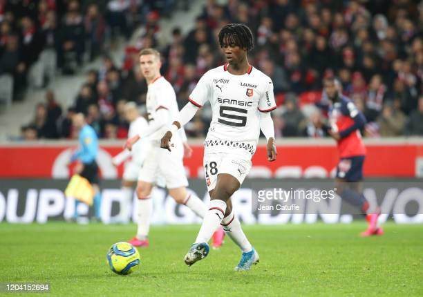 Eduardo Camavinga of Stade Rennais during the Ligue 1 match between Lille OSC and Stade Rennais at Stade Pierre Mauroy on February 4, 2020 in...