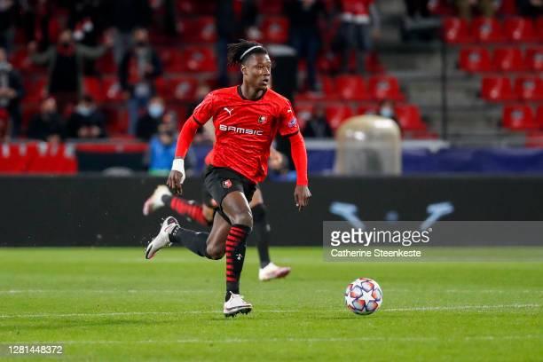 Eduardo Camavinga of Stade Rennais FC controls the ball during the UEFA Champions League Group E stage match between Stade Rennais and FC Krasnodar...