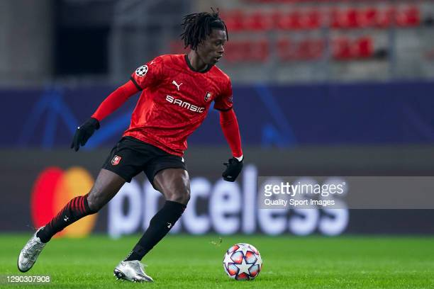 Eduardo Camavinga of Stade Rennais in action during the UEFA Champions League Group E stage match between Stade Rennais and Sevilla FC at Roazhon...