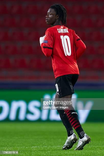 Eduardo Camavinga of Stade Rennais looks on during the UEFA Champions League Group E stage match between Stade Rennais and Sevilla FC at Roazhon Park...