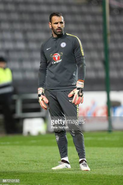 Eduardo Carvalho of Chelsea looks on duringthe pre match warm up prior to the Checkatrade Trophy Second Round match between Milton Keynes Dons and...