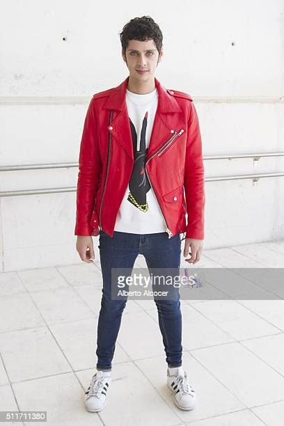 Eduardo Casanova wears total look of Maria Escote and Adidas shoes during Mercedes Benz Fashion Week at Ifema on February 19 2016 in Madrid Spain