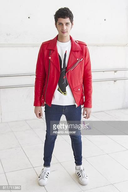 Eduardo Casanova wears total look of Maria Escote and Adidas shoes during Mercedes Benz Fashion Week at Ifema on February 19 2016 in Madrid Spain