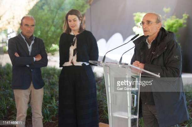 Eduardo Chillida's son Luis Chillida Ignacio Chillida and the Managing director of the museum Mireia Massague attend a press conference at Chillida...