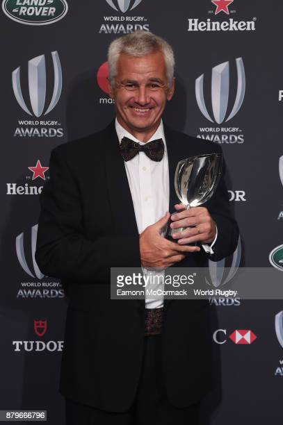 Eduardo Coco Oderigo poses with the World Rugby via Getty Images Award for Character during the World Rugby via Getty Images Awards 2017 in the Salle...