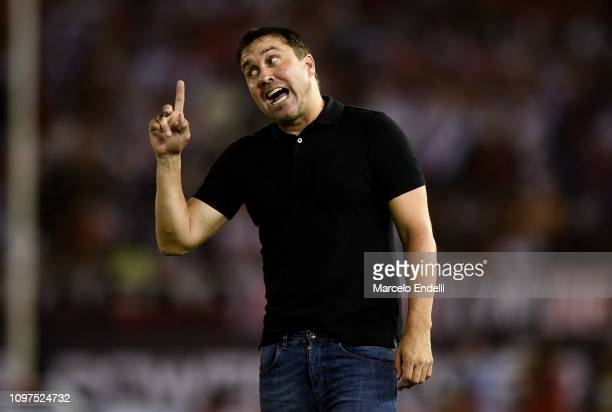 Eduardo Coudet coach of Racing Club gestures during a match between River Plate and Racing Club as part of Superliga 2018/19 at Estadio Monumental...