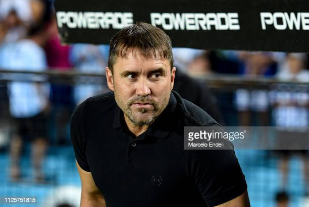 Eduardo Coudet coach of Racing Club looks on before a match between Racing Club and Godoy Cruz at Juan Domingo Peron Stadium on February 18 2019 in...