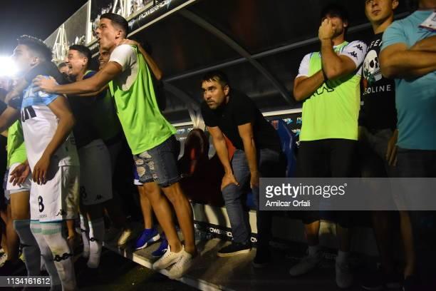 Eduardo Coudet coach of Racing Club looks on before winning the Superliga 2018/19 against Tigre at Estadio José Dellagiovanna on March 31 2019 in...