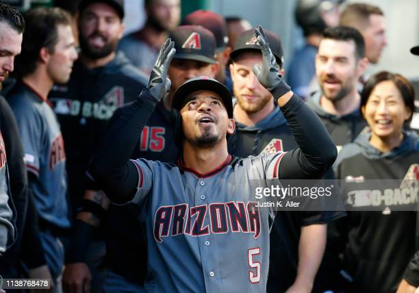 Eduardo Escobar of the Arizona Diamondbacks celebrates after hitting a home run in the third inning against the Pittsburgh Pirates at PNC Park on...