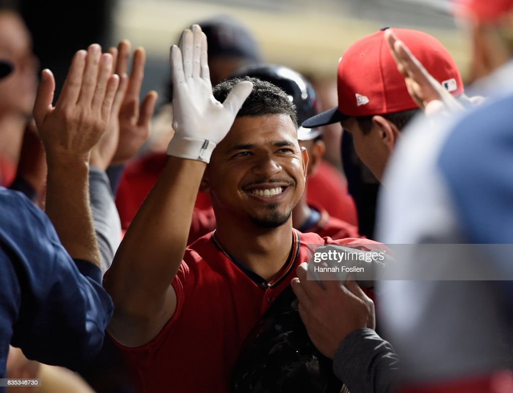 Eduardo Escobar #5 of the Minnesota Twins celebrates a two-run home run against the Arizona Diamondbacks during the seventh inning of the game on August 18, 2017 at Target Field in Minneapolis, Minnesota. The Twins defeated the Diamondbacks 10-3.