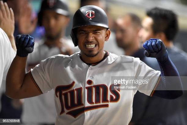 Eduardo Escobar of the Minnesota Twins celebrates a tworun home run against the Toronto Blue Jays during the fifth inning of the game on April 30...