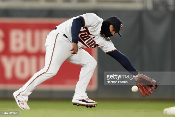 Eduardo Escobar of the Minnesota Twins fields the infield single by Carlos Correa of the Houston Astros during the eighth inning of the game on April...