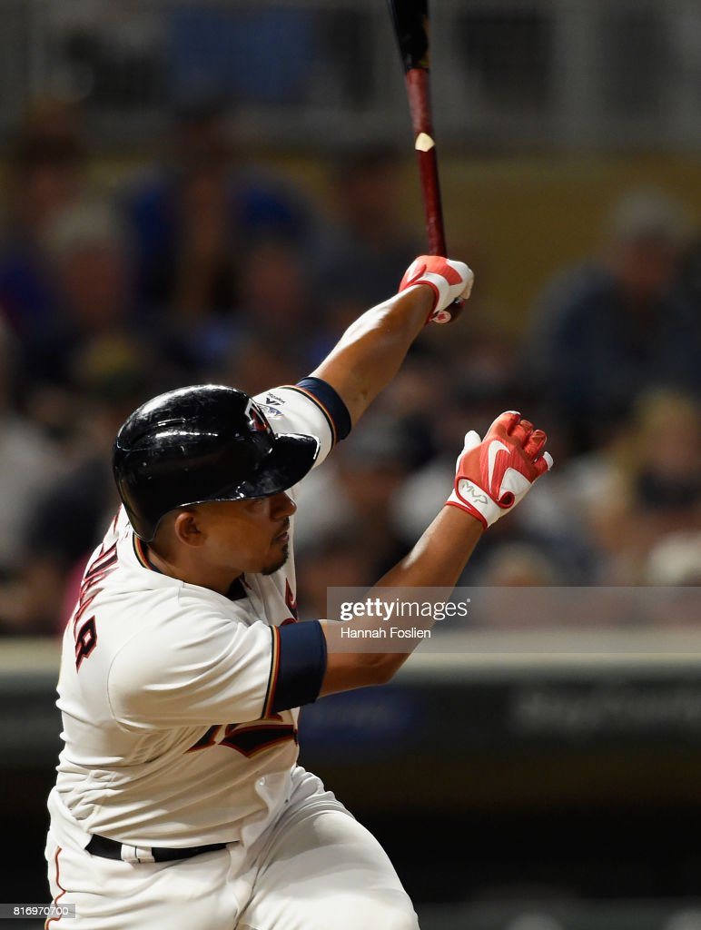Eduardo Escobar #5 of the Minnesota Twins hits an RBI single against the New York Yankees during the eighth inning of the game on July 17, 2017 at Target Field in Minneapolis, Minnesota. The Twins defeated the Yankees 4-2.
