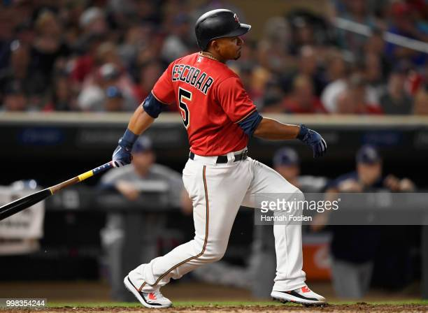 Eduardo Escobar of the Minnesota Twins hits an RBI single against the Tampa Bay Rays during the sixth inning of the game on July 13 2018 at Target...