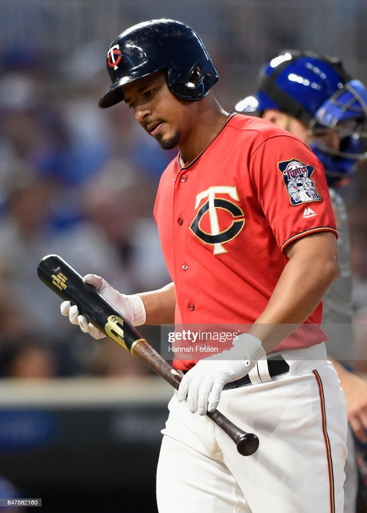 Eduardo Escobar #5 of the Minnesota Twins reacts to striking out against the Toronto Blue Jays during the second inning of the game on September 15, 2017 at Target Field in Minneapolis, Minnesota.
